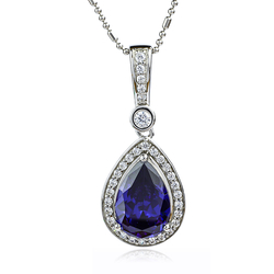 Pear Shape Tanzanite Pendant With 925 Sterling Silver