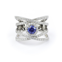 Big Tanzanite Silver Ring