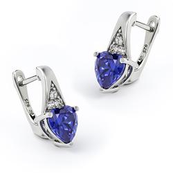 Silver Leverbacks Heart Earrings With Tanzanite