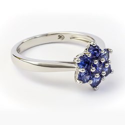Flower Ring in Silver with Tanzanite
