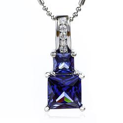 Tanzanite Pendant With 925 Silver Princess Cut