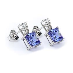 Tanzanite Princess Cut Earrings