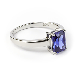 Silver Ring with Emerald Cut Tanzanite