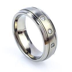 Titanium Genuine Diamond Engagement Ring