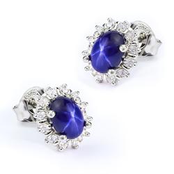 Star Sapphire Silver Earrings 12 mm x 10 mm