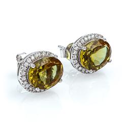 Oval Cut Zultanite Framed Silver Earrings