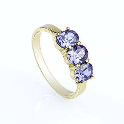 10K Solid Yellow Gold Ring with a Genuine Tanzanite