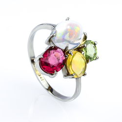 Genuine Mexican Opal, Rubelite and Tsavorite Gold Ring