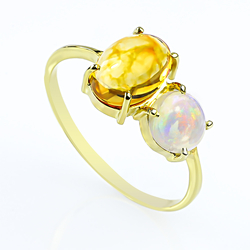 Genuine Mexican Jelly and Supreme Opal 14K Yellow Gold Ring