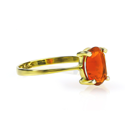 Genuine Mexican Fire Cherry Opal 14K Yellow Gold Ring