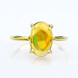 Natural Cabuchon Mexican Fire Jelly Opal 14K Gold Ring