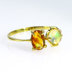Genuine Mexican Fire Opal 14K Gold Ring 2 Stone Ring