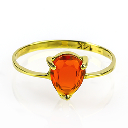 Genuine Pear Cut Mexican Fire Cherry Opal 14K Yellow Gold Ring