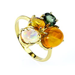 Genuine Mexican Jelly Opal and Green Sapphire 14K Yellow Gold Ring