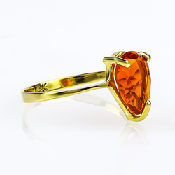 Natural Pear Cut Mexican Fire Cherry Opal 14K Yellow Gold Ring