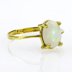 Genuine Milky Mexican Fire Opal 14K Gold Ring
