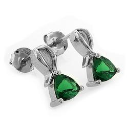 Trillion Cut Emerald .925 Silver Post Back Earrings