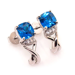 Blue Topaz Silver Earrings Cushion Cut