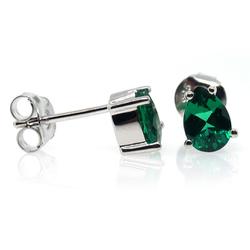 Oval Cut Brilliant Emerald .925 Silver Earrings