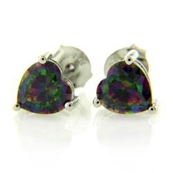 Heart Cut Mystic Topaz Fashion .925 Sterling Silver Earrings