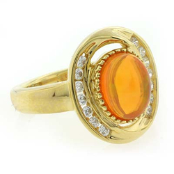 14K Gold Plated Quality Fire Opal Ring