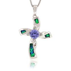 Australian Opal Cross Pendant with Tanzanite