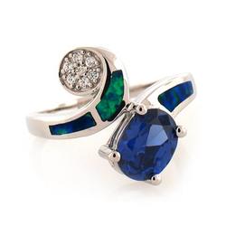 Australian Opal Fashion Ring with Tanzanite