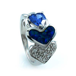 Heart Shape Opal Ring with Tanzanite