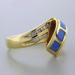 14k Solid Yellow Gold Australian Blue Opal Diamond Ring