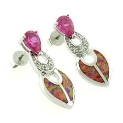 Oval Cut Pink Sapphire and Australian Opal Earrings in Sterling Silver