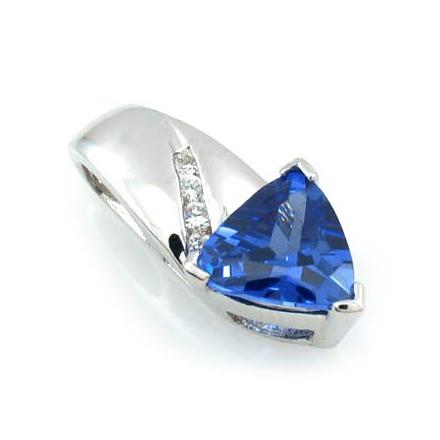 Trillion Cut Tanzanite Sterling Silver Pendant