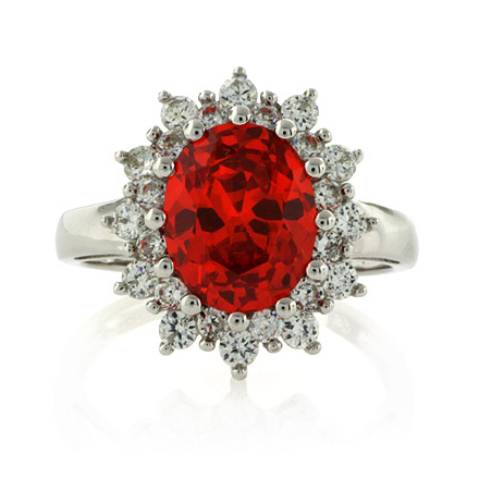 Oval Cut Mexican Fire Opal .925 Silver Ring