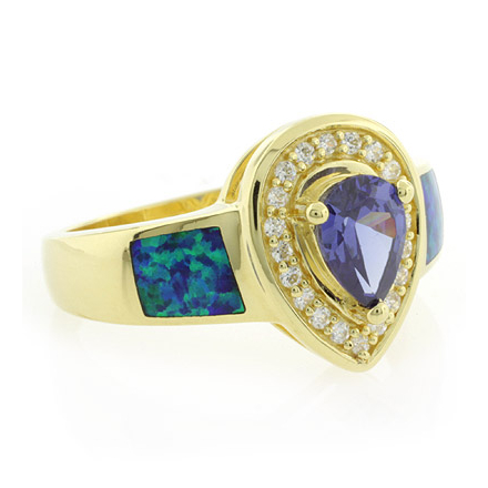 Gold Plated Tanzanite with Opal Silver Ring