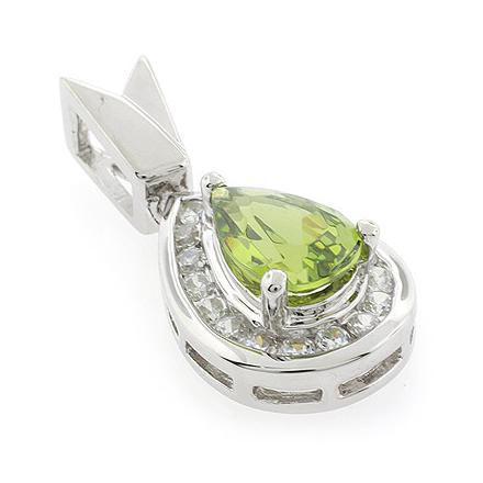 Pear Cut Peridot Slide Silver Pendant