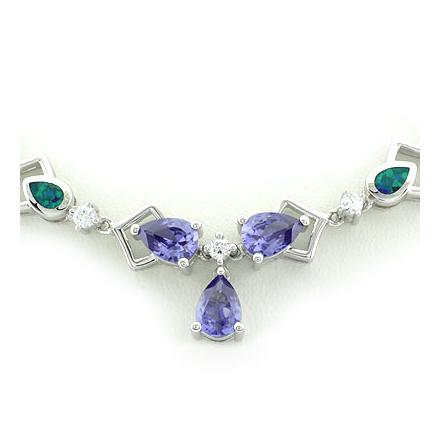 Beautiful Tanzanite and Blue Opal Silver Necklace