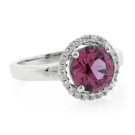 Alexandrite Round Cut Silver Ring Changing Color Stone