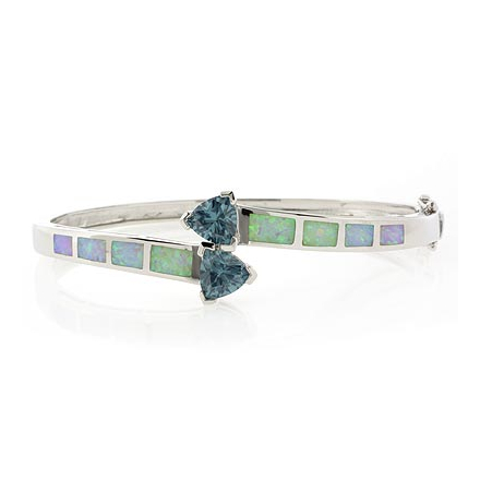 2 Stone Trillion Cut Alexandrite and White Opal Sterling Silver Bangle