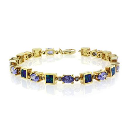 Oval Cut Tanzanite Stones and Australian Opal Gold Plated Bracelet