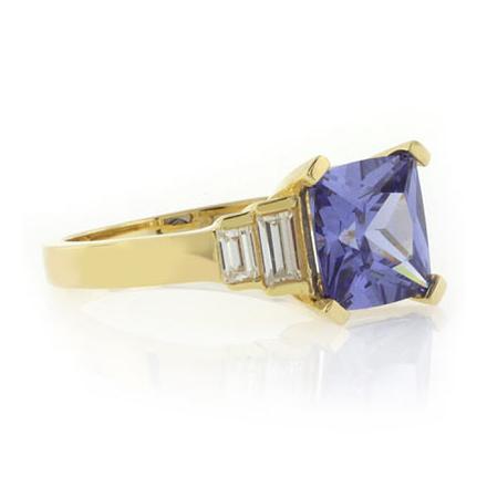 Princess Cut Tanzanite Gold Plated .925 Silver Ring