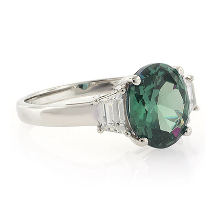 Blue to Green Oval Cut Alexandrite Ring in .925