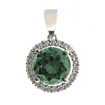 Dije de Plata de Ley con Alejandrita Bicolor ( Azul/Verde )