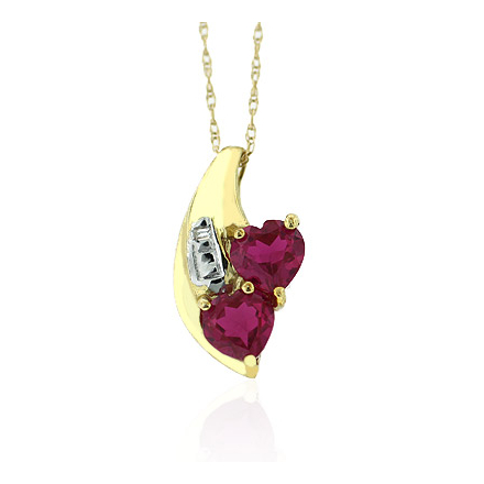 Ruby Heart Pendant Necklace in 10K Yellow Solid Gold
