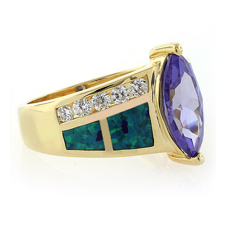 High Quality Opal Ring with Tanzanite in 14k Gold Plated Silver
