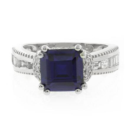 Majestic Square Cut Tanzanite .925 Silver Ring