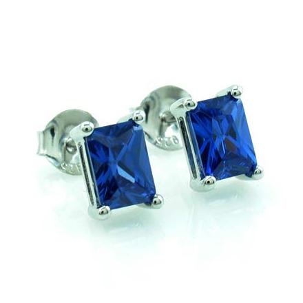 Emerald Cut Tanzanite .925 Silver Earrings