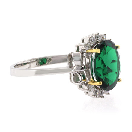 Gorgeous Oval Cut Emerald Gold Prong Ring in .925 Silver