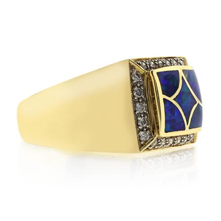 Anillo de Oro Macizo 14k con Opalo Australiano y Diamantes