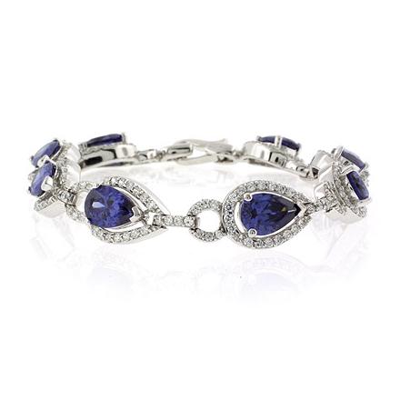 Pear Cut Tanzanite .925 Sterling Silver Bracelet