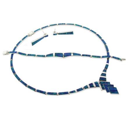 Elegant Bracelet Earrings Necklace Silver Blue Fire Opal Set