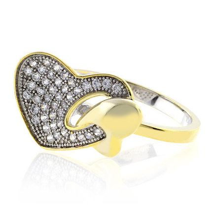 Heart Shape Sterling Silver Micro Pave Ring